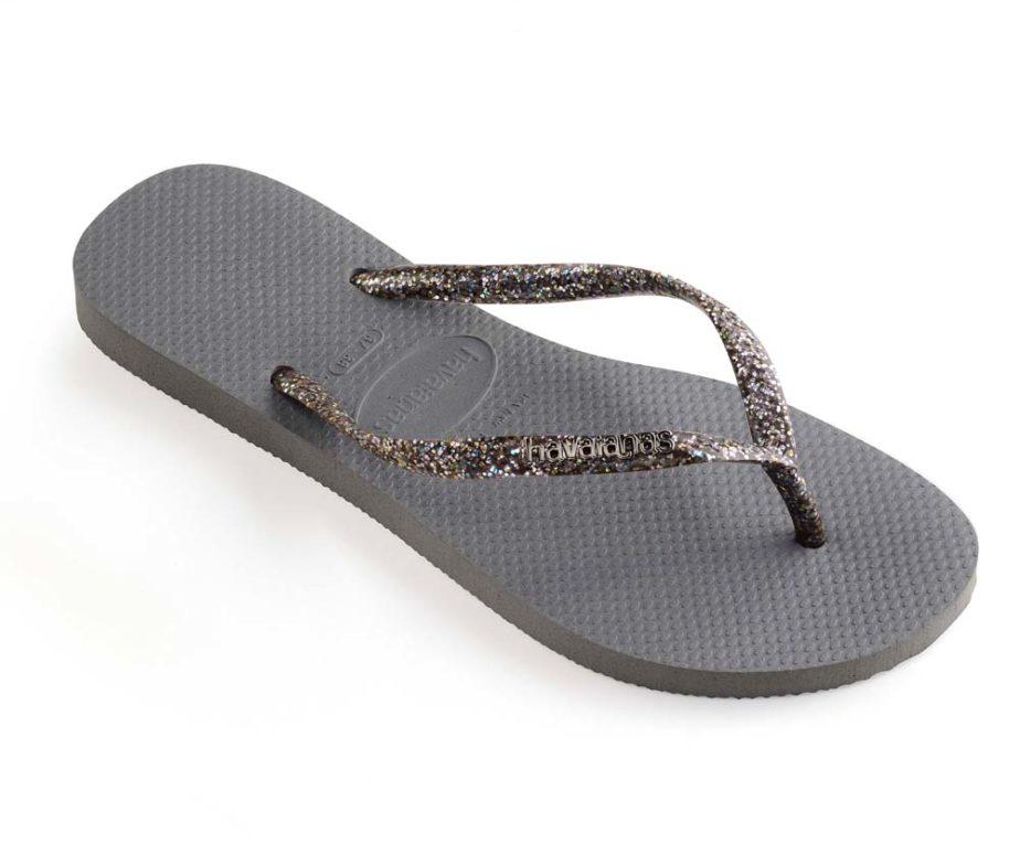 e5d5f589036d Havaianas Womens Slim Logo Metallic Steel Grey Graphite Flip Flops ...