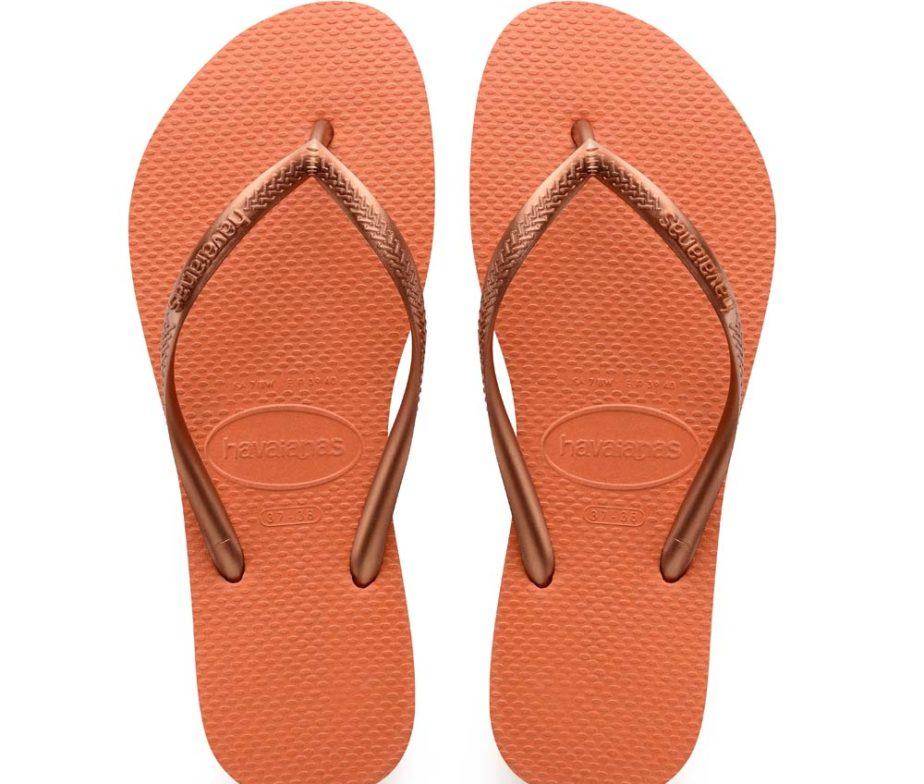 708ffce20 Havaianas Womens Slim Orange Bronze Flip Flops
