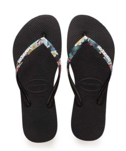 Havaianas Womens Slim Strapped Black/Mistic Flip Flops