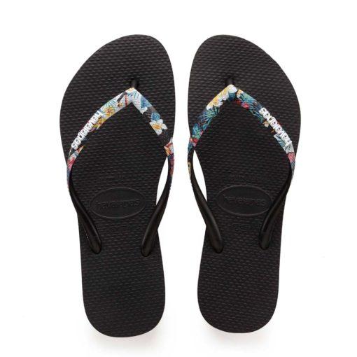 Havaianas Womens Slim Strapped Black/Mistic Flip Flops