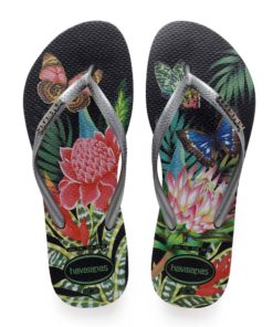 Havaianas Womens Slim Tropical Black / Graphite Flip Flops