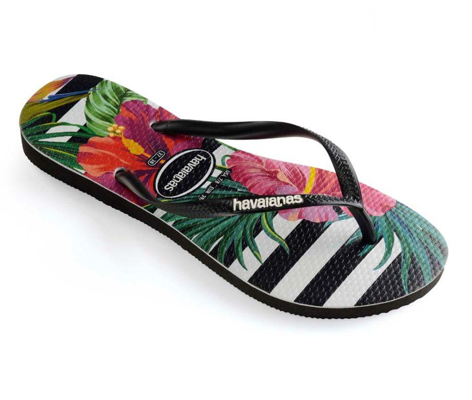 48da8e4cb Havaianas Womens Slim Tropical Floral Black   Imperial Palace Flip Flops