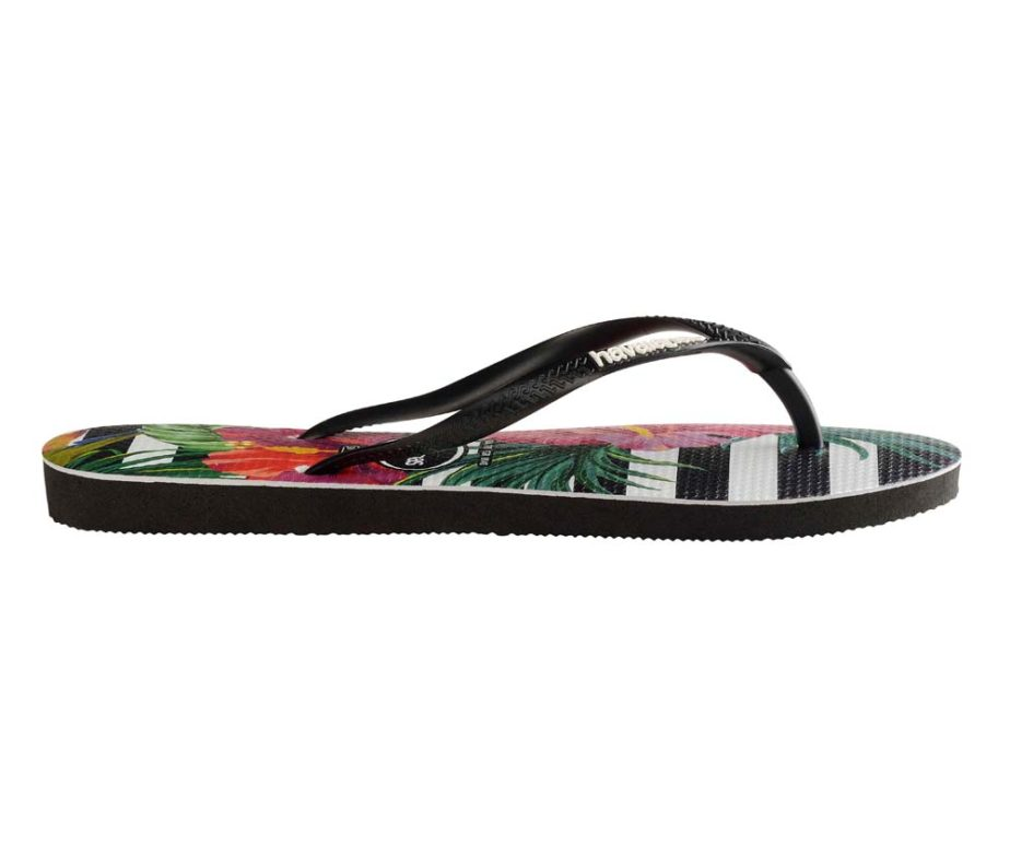 a11213b4310267 Havaianas Womens Slim Tropical Floral Black   Imperial Palace Flip Flops
