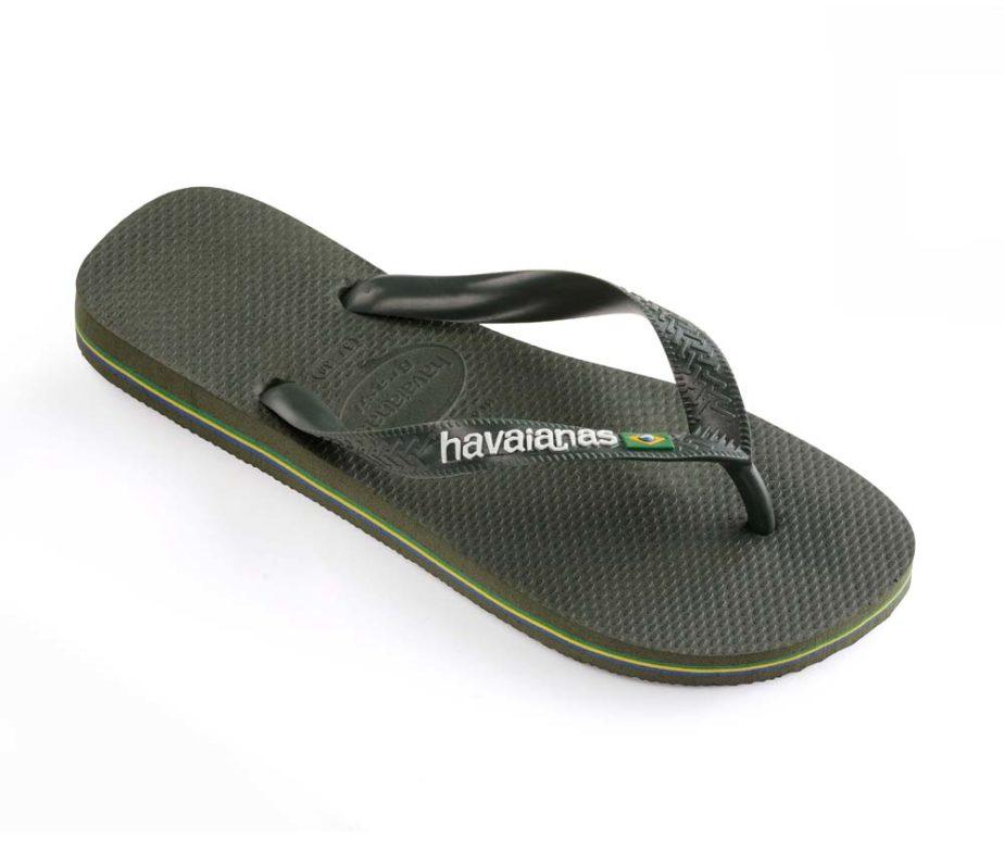 c10a4db244f3 Havaianas Mens Brasil Logo Green Olive Flip Flops - IC Clothing
