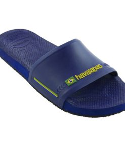 Havaianas Mens Slide Brasil Navy Blue Flip Flops