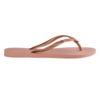 Havaianas Womens Slim Logo Metallic Rose Nude Flip Flops