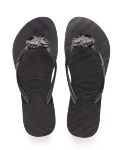 Havaianas Womens Slim Metal Pin Black Flip Flops