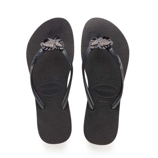 Havaianas Womens Slim Metal Pin Black Flip Flops
