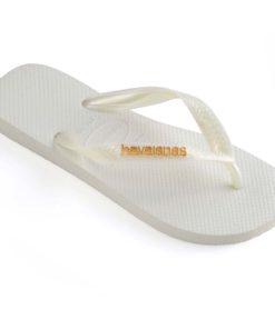 Havaianas Womens Logo Metallic White Flip Flops