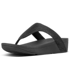Fitflop Lottie Glitzy Black Ladies Toe-Thongs Sandals