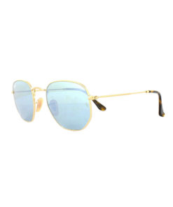 Ray-Ban Hexagonal Flat Lenses Gold Sunglasses RB3548N-001/30