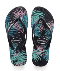 Havaianas Womens Slim Tropical Floral Black / Daybreak Flip Flops