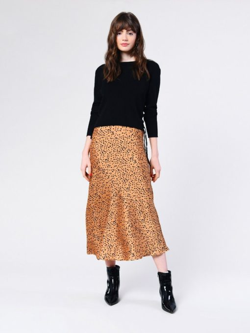 Glamorous Tan Black Spot Midi Skirt