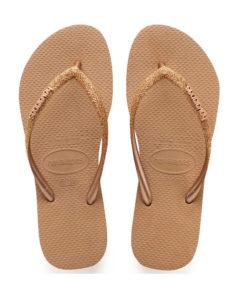 Havaianas Womens Slim Glitter Rose Gold Flip Flops