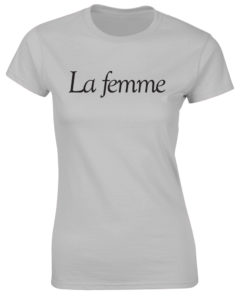 LA FEMME. LADIES GREY T-SHIRT