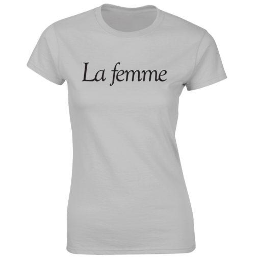 LA FEMME. LADIES GREY T-SHIRT