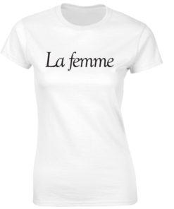LA FEMME. LADIES WHITE T-SHIRT
