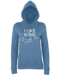 I LIKE WINE HOODY - AIRFORCE BLUE