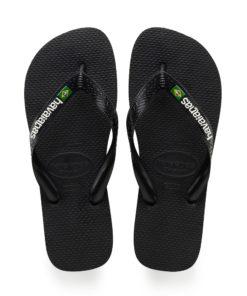 Havaianas Mens Brasil Logo Black Flip Flops