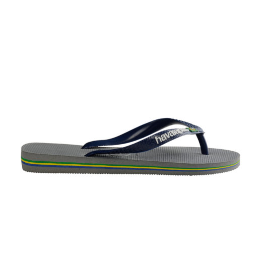 Havaianas Mens Brasil Logo Steel Grey/Navy Flip Flops
