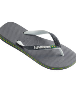 Havaianas Mens Brasil Mix Steel Grey/White Flip Flops