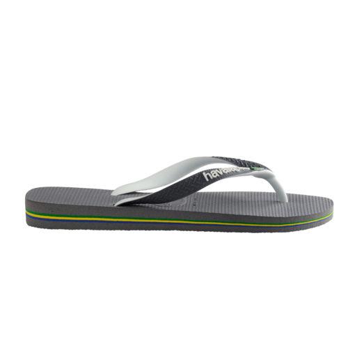 Havaianas Mens Brasil Mix Steel Grey/White Flip Flops