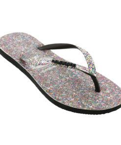 Havaianas Womens Slim Carnival Black Flip Flops