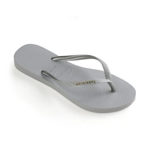 havaianas womens glitter ice grey flip flops