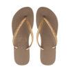 havaianas womens glitter rose gold flip flops
