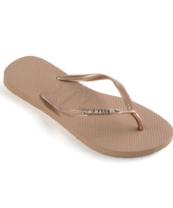 Havaianas Womens Slim Metal Logo & Crystal Rose Gold Flip Flops