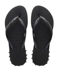 Havaianas Womens Slim Rocky Black Flip Flops