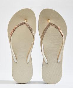 Havaianas Womens Slim Sparkle Beige Flip Flops