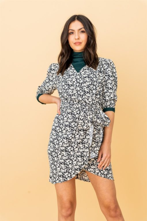 Ditsy Floral Wrap Dress With Tie in Cream and Black