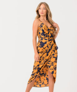 Wrap Dress In Navy Mustard Print