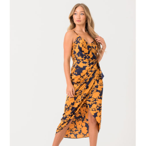 Wrap Dress In Navy Mustard Print