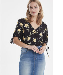 B-Young Isole Black & Yellow Rose Print Blouse