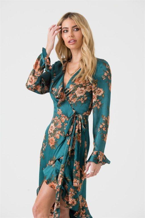 Green Orange Floral Midi Wrap Dress