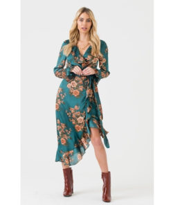 Green Orange Floral Midi Wrap Dress