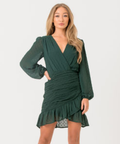Green Dobby Wrap Dress