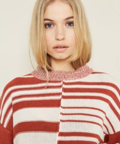 Native Youth Anastasia Tan And Pink Striped Jumper