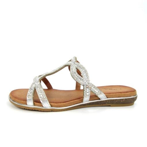 Lunar Gabriela Silver Gemstone Sandal Mule