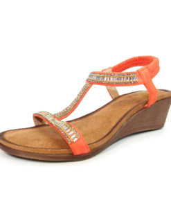 Lunar Tabitha Orange Wedge T Bar Sandal