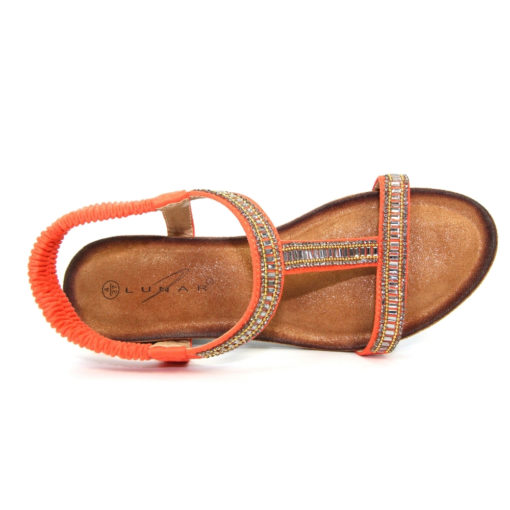 Lunar Tabitha Orange Wedge T Bar Sandal