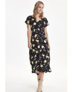 B-Young Isole Yellow And Black Floral Dress
