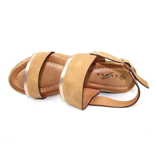 Lunar Cashew Wedge Tan Sandal