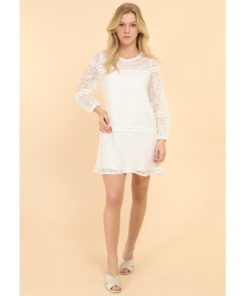 White Lace Long Sleeved Dress
