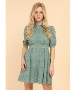 Sage Lace Puff Sleeve Shirt Dress