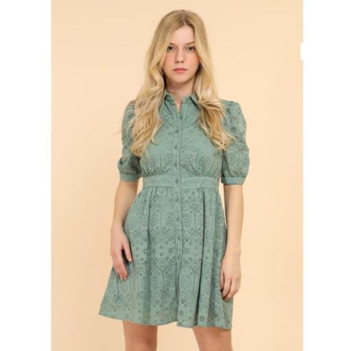 Sage Lace Puff Sleeve Shirt Dress