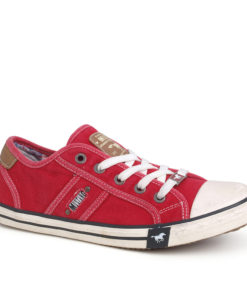 Mustang Red Canvas Ladies Trainers Pumps