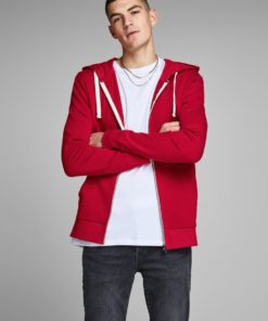 Jack & Jones Mens Holmen Zip Hoody - Rio Red